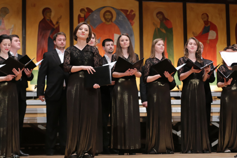 """Chórzyści Kameralnego Chóru """"Sofia"""" biorący udział w inauguracji Festiwalu Śpiewającej Duszy 2015"""