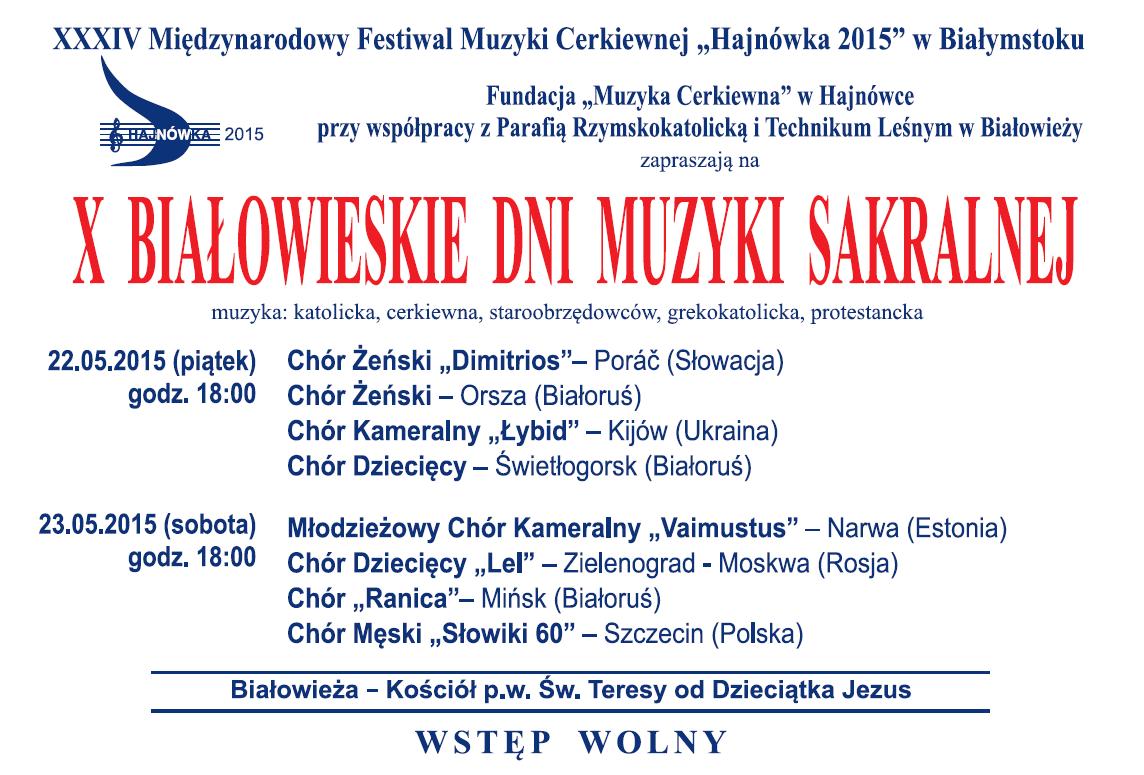 X Białowieskie Dni muzyki Sakralnej